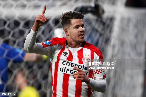 Marco van Ginkel of PSV celebrates scoring his teams first goal of the game during the Dutch Eredivisie match between PSV Eindhoven and VVV Venlo...