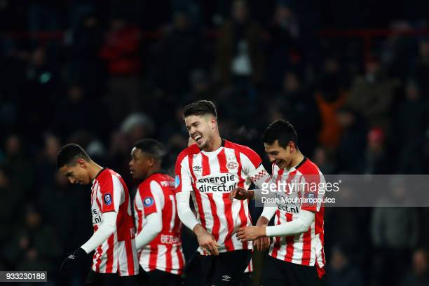 Marco van Ginkel of PSV celebrates scoring his teams second goal of the game with team mates during the Dutch Eredivisie match between PSV Eindhoven...