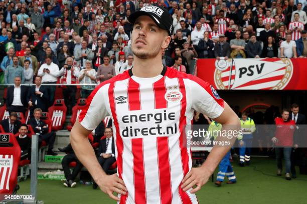 Marco van Ginkel of PSV celebrates the championship during the Dutch Eredivisie match between PSV v Ajax at the Philips Stadium on April 15 2018 in...