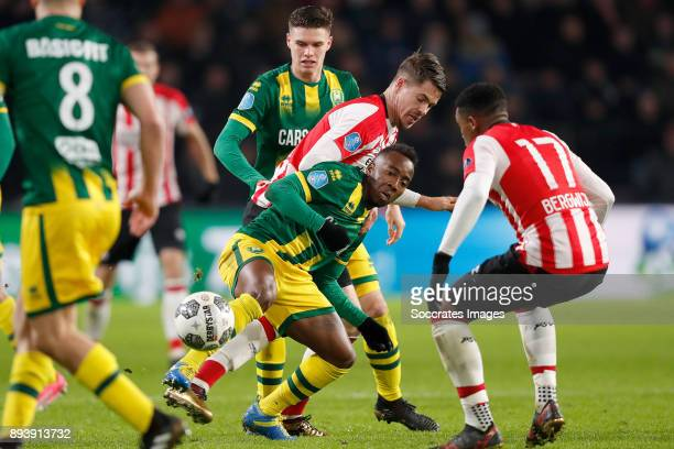 Marco van Ginkel of PSV Elson Hooi of ADO Den Haag during the Dutch Eredivisie match between PSV v ADO Den Haag at the Philips Stadium on December 16...