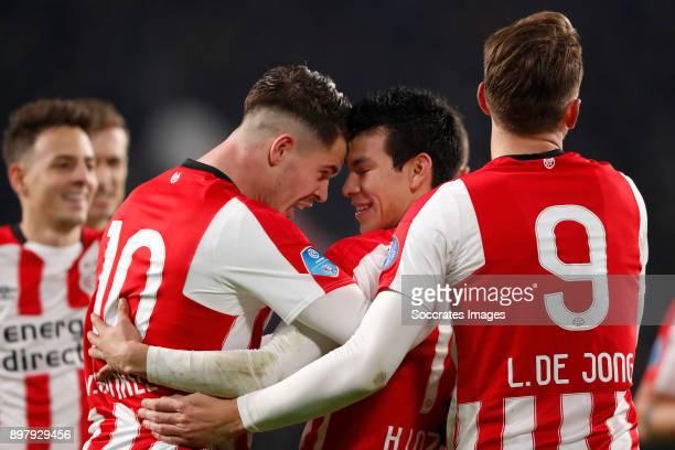 Marco van Ginkel of PSV Hirving Lozano of PSV Celebrate goal Luuk de Jong of PSV during the Dutch Eredivisie match between PSV v Vitesse at the...