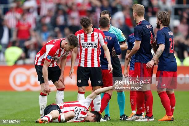 Marco van Ginkel of PSV Hirving Lozano of PSV Santiago Arias of PSV Nicolas Tagliafico of Ajax referee Danny Makkelie Justin Kluivert of Ajax...