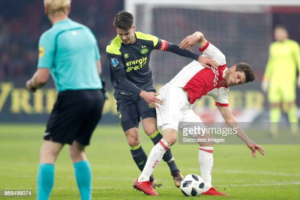 Marco van Ginkel of PSV Klaas Jan Huntelaar of Ajax during the Dutch Eredivisie match between Ajax v PSV at the Johan Cruijff Arena on December 10...