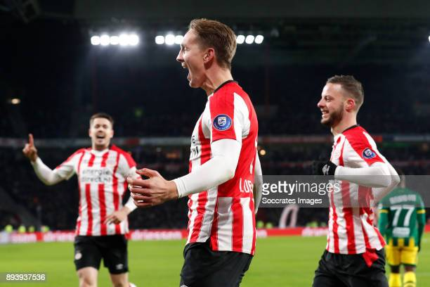 Marco van Ginkel of PSV Luuk de Jong of PSV Bart Ramselaar of PSV during the Dutch Eredivisie match between PSV v ADO Den Haag at the Philips Stadium...