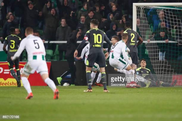 Marco van Ginkel of PSV, Mike te Wierik of FC Groningen, Nicolas Isimat of PSV, Santiago Arias of PSV during the Dutch Eredivisie match between FC...