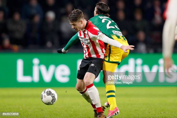Marco van Ginkel of PSV Nasser El Khayati of ADO Den Haag during the Dutch Eredivisie match between PSV v ADO Den Haag at the Philips Stadium on...