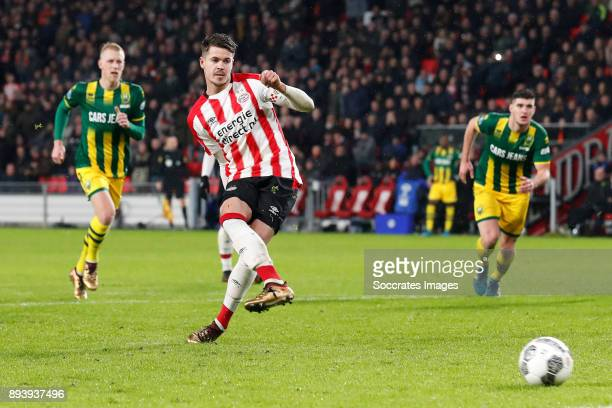 Marco van Ginkel of PSV scores his goal to make it 30 during the Dutch Eredivisie match between PSV v ADO Den Haag at the Philips Stadium on December...