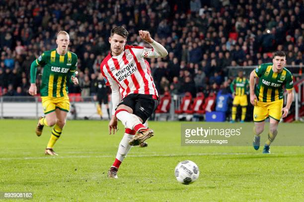 Marco van Ginkel of PSV scores the third goal to make it 30 during the Dutch Eredivisie match between PSV v ADO Den Haag at the Philips Stadium on...