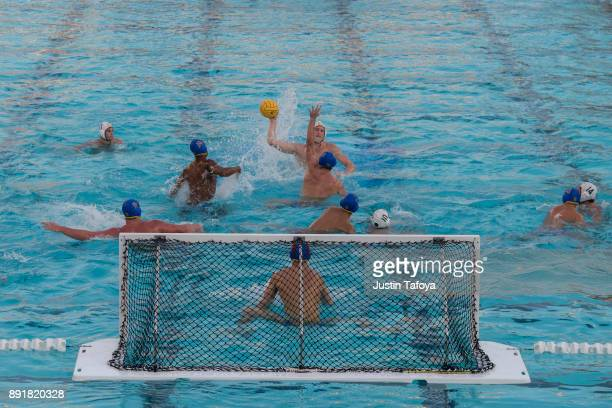Marco Vavic of USC shoots the ball during the Division I Men's Water Polo Championship held at the Uytengsu Aquatics Center on the University of...