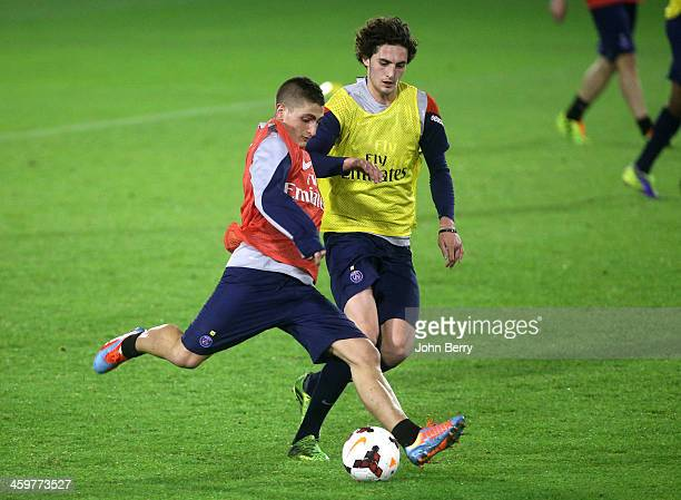 Marco Verratti and Adrien Rabiot of PSG in action during day 2 of the Paris SaintGermain Training Camp the Qatar Winter Tour held at the Aspire...
