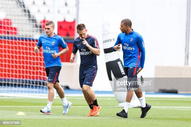 Marco Verratti and Kylian Mbappe of PSG during the training session of Paris Saint Germain at Parc des Princes on May 16 2018 in Paris France
