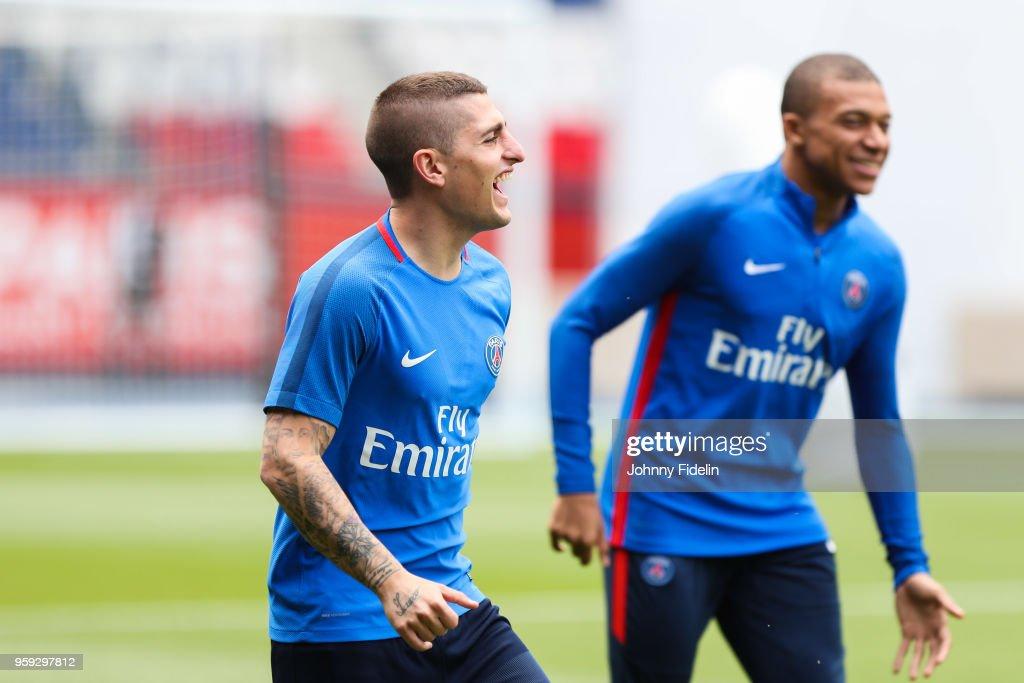 Marco Verratti and Kylian Mbappe of PSG during the training session of Paris Saint Germain at Parc des Princes on May 16, 2018 in Paris, France.