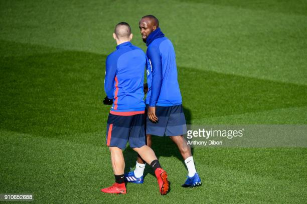 Marco Verratti and Lassana Diarra of PSG during training session of Paris Saint Germain PSG at Camp des Loges on January 26 2018 in Paris France