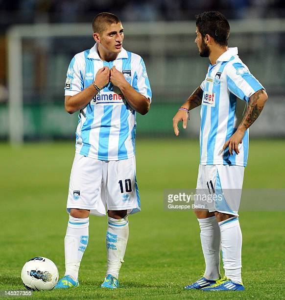 Marco Verratti and Lorenzo Insigne of Pescara during the Serie B match between Pescara Calcio and ASG Nocerina at Adriatico Stadium on May 26 2012 in...