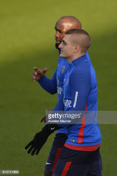 Marco Verratti and newly signed Lassana Diarra arrive for a training session of Paris Saint Germain PSG at Camp des Loges on January 26 2018 in Paris...