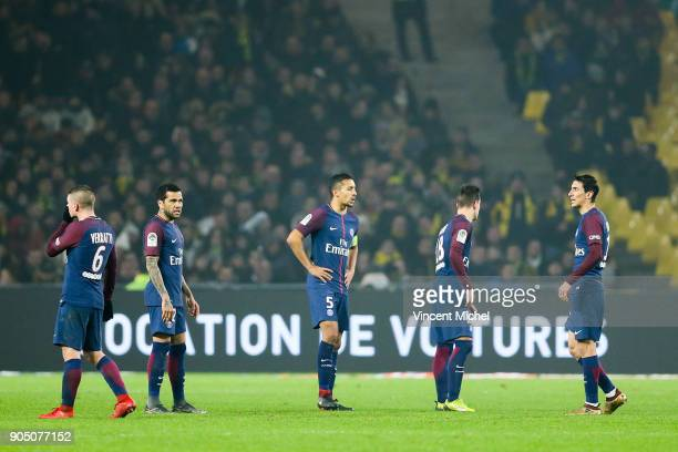 Marco Verratti Dani Alves Marquinhos Giovani Lo Celso and Angel Di Maria of Paris Saint Germain during the Ligue 1 match between FC Nantes and Paris...