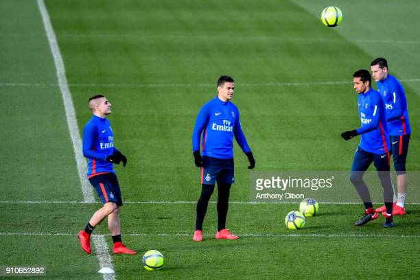 Marco Verratti Hatem Ben Arfa Marquinhos and Julian Draxler of PSG during training session of Paris Saint Germain PSG at Camp des Loges on January 26...