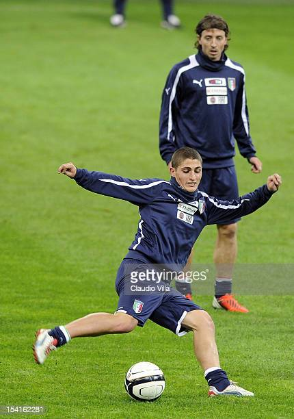 Marco Verratti of Italy attends a training session ahead of their FIFA World Cup Brazil 2014 qualifier against Danimarca at Stadio Giuseppe Meazza on...