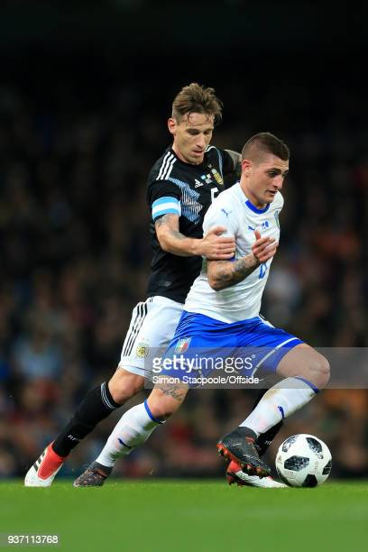 Marco Verratti of Italy battles with Leandro Paredes of Argentina during the international friendly match between Italy and Argentina at the Etihad...