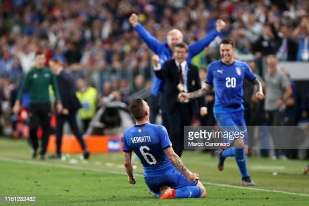 Marco Verratti of Italy celebrate after scoring a goal during the 2020 UEFA European Championships group J qualifying match between Italy and Bosnia...