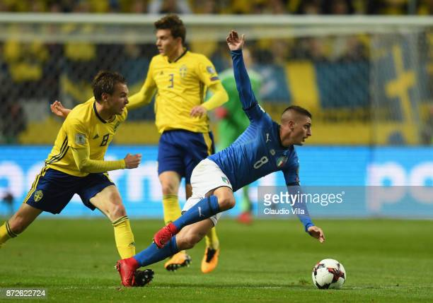 Marco Verratti of Italy competes for the ball with Albin Ekdal of Sweden during the FIFA 2018 World Cup Qualifier PlayOff First Leg between Sweden...