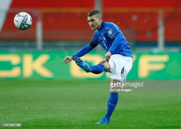 Marco Verratti of Italy controls the ball during the FIFA World Cup 2022 Qatar qualifying match between Italy and Northern Ireland on March 25, 2021...