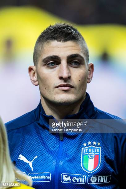 Marco Verratti of Italy during the FIFA 2018 World Cup Qualifier PlayOff First Leg between Sweden and Italy at Friends arena on November 10 2017 in...