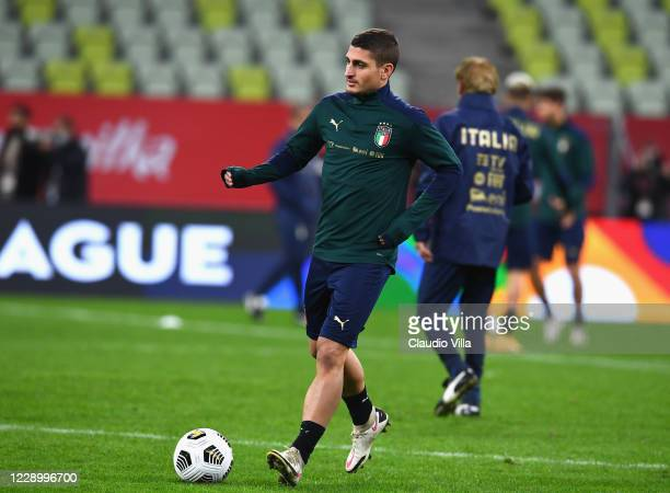 Marco Verratti of Italy in action during a training session at Energa Arena on October 10, 2020 in Gdansk, Poland.