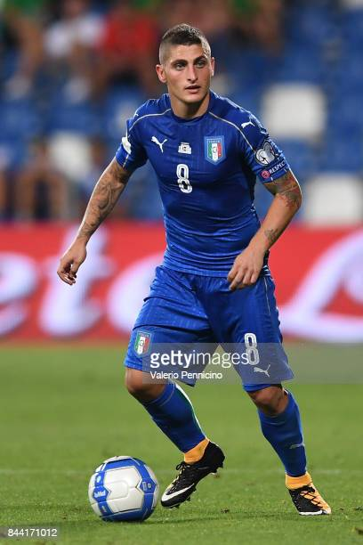 Marco Verratti of Italy in action during the FIFA 2018 World Cup Qualifier between Italy and Israel at Mapei Stadium Citta' del Tricolore on...