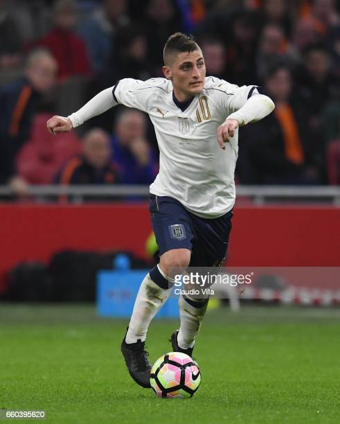 Marco Verratti of Italy in action during the international friendly match between Netherlands and Italy at Amsterdam Arena on March 28 2017 in...