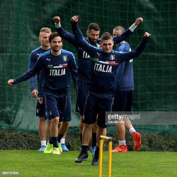 Marco Verratti of Italy in action during the training session at the club's training ground at Coverciano on March 23 2017 in Florence Italy