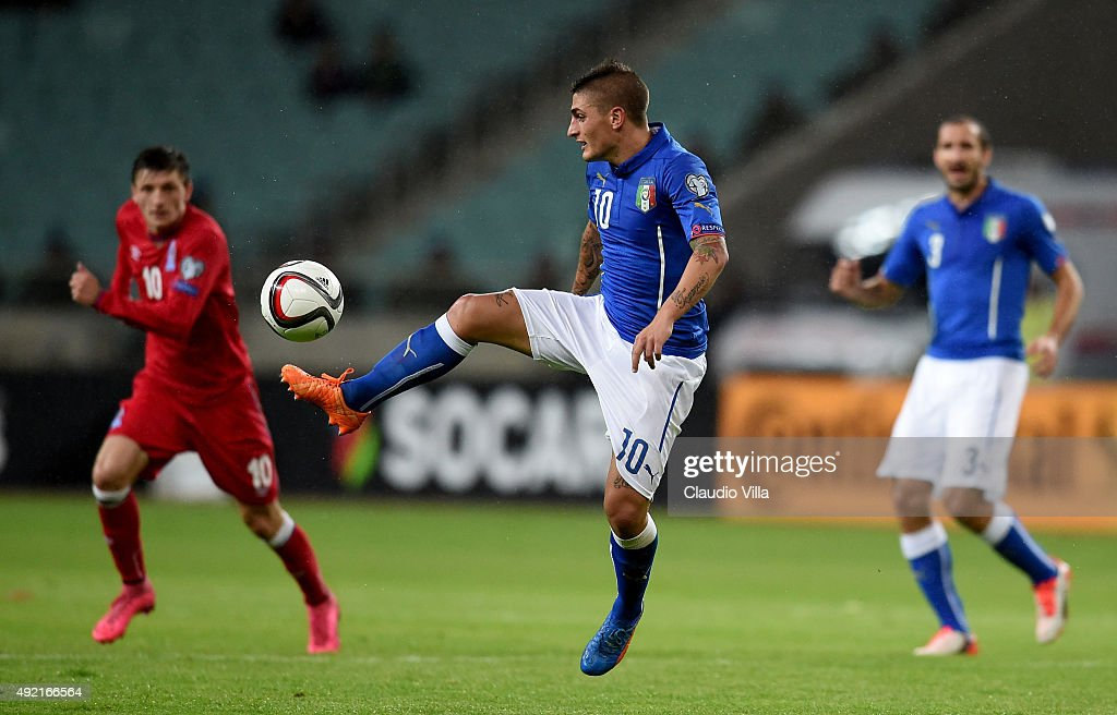 Marco Verratti of Italy in action during the UEFA Euro 2016 qualifying football match between Azerbaijan and Italy at Olympic Stadium on October 10, 2015 in Baku, Azerbaijan.