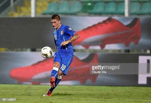 Marco Verratti of Italy in action during the UEFA EURO 2016 Qualifier match between Italy and Bulgaria on September 6 2015 in Palermo Italy
