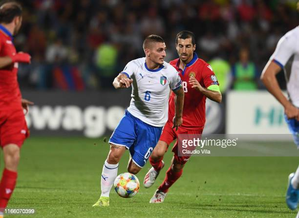 Marco Verratti of Italy in action during the UEFA Euro 2020 qualifier between Armenia and Italy at Republican Stadium after Vazgen Sargsyan on...
