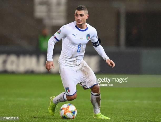 Marco Verratti of Italy in action during the UEFA Euro 2020 qualifier between Liechtenstein and Italy on October 15 2019 in Vaduz Liechtenstein