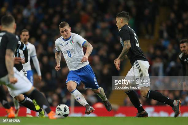 Marco Verratti of Italy Leandro Paredes of Argentina during the International Friendly match between Italy v Argentina at the Etihad Stadium on March...