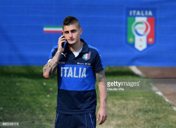 Marco Verratti of Italy looks on prior to the training session at Coverciano at Coverciano on June 04 2017 in Florence Italy