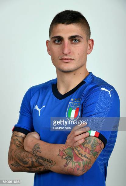 Marco Verratti of Italy poses during the official portrait session at Coverciano on November 6 2017 in Florence Italy