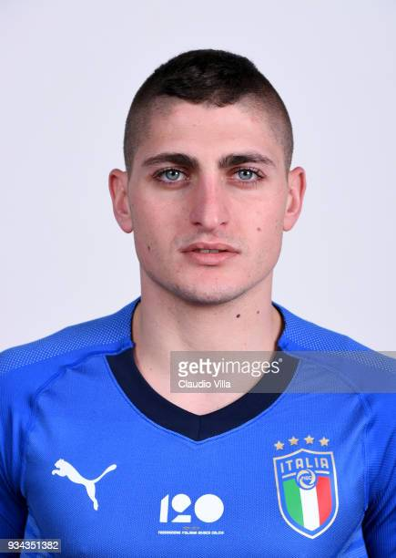 Marco Verratti of Italy poses during the official portrait session at Centro Tecnico Federale of Coverciano on March 19 2018 in Florence Italy