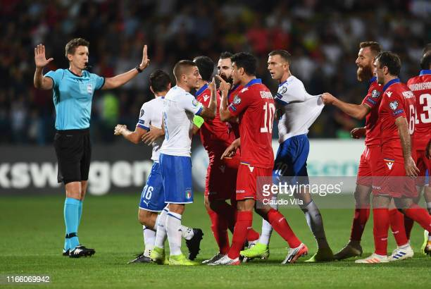 Marco Verratti of Italy protests during the UEFA Euro 2020 qualifier between Armenia and Italy at Republican Stadium after Vazgen Sargsyan on...