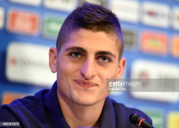 Marco Verratti of Italy speaks to media during a press conference at Coverciano on June 2 2014 in Florence Italy