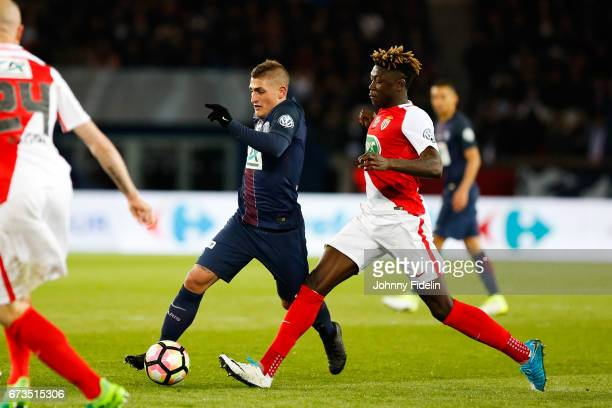 Marco Verratti of Paris Saint Germain and Kevin N'Doram of Monaco during the Semi final of the French Cup match between Paris SaintGermain and As...