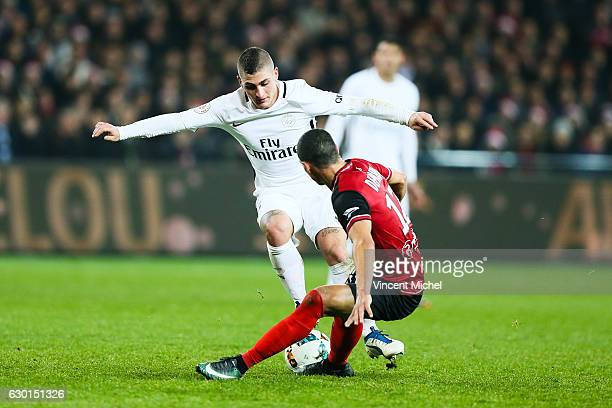 Marco Verratti of Paris Saint Germain and Nill De Pauw of Guingamp during the French Ligue 1 match between Guingamp and Paris Saint Germain at Stade...