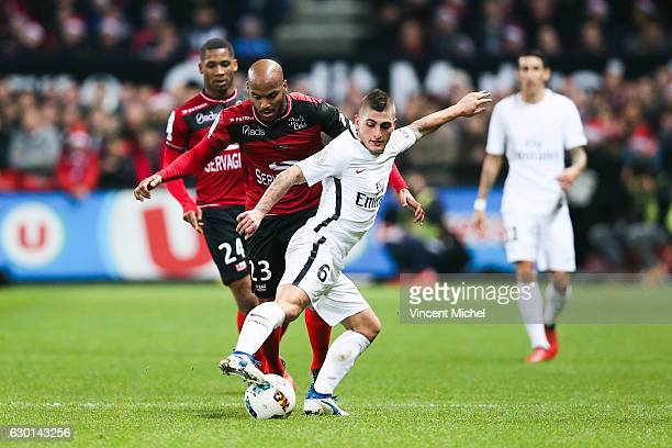 Marco Verratti of Paris Saint Germain during the French Ligue 1 match between Guingamp and Paris Saint Germain at Stade du Roudourou on December 17...