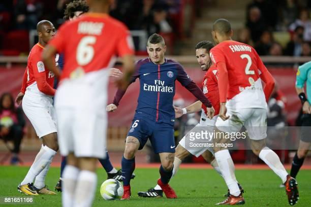 Marco Verratti of Paris Saint Germain Joao Moutinho of AS Monaco Fabinho of AS Monaco during the French League 1 match between AS Monaco v Paris...