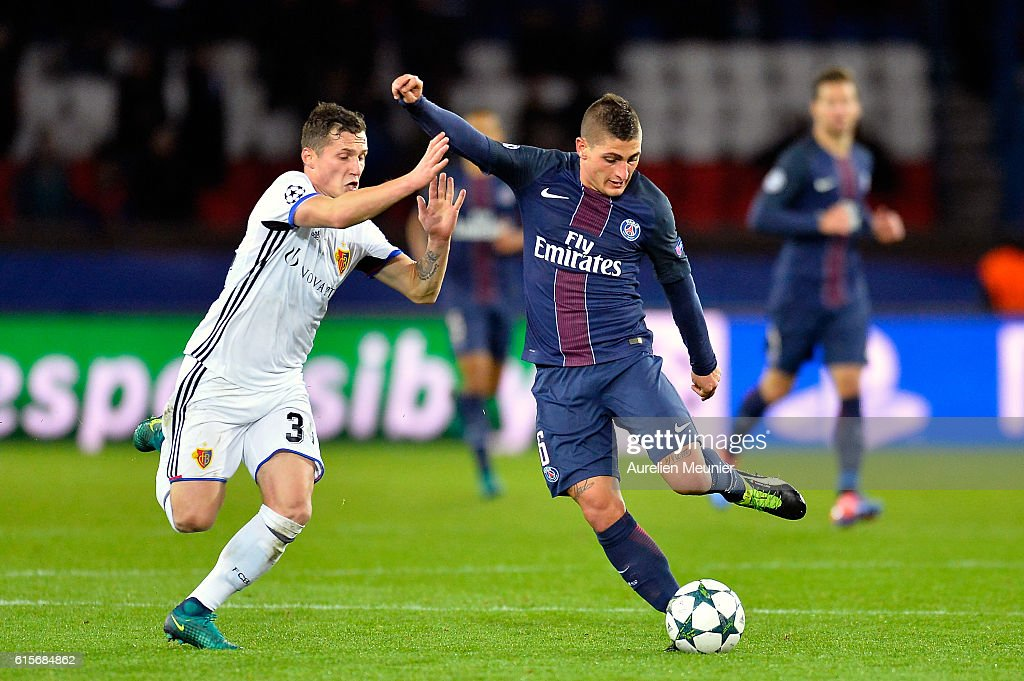 Marco Verratti of Paris Saint-Germain and Taulant Xhaka of FC Basel 1893 fight for the ball during the UEFA Champions League match between Paris Saint-Germain and FC Basel 1893 at Parc des Princes on October 19, 2016 in Paris, France.