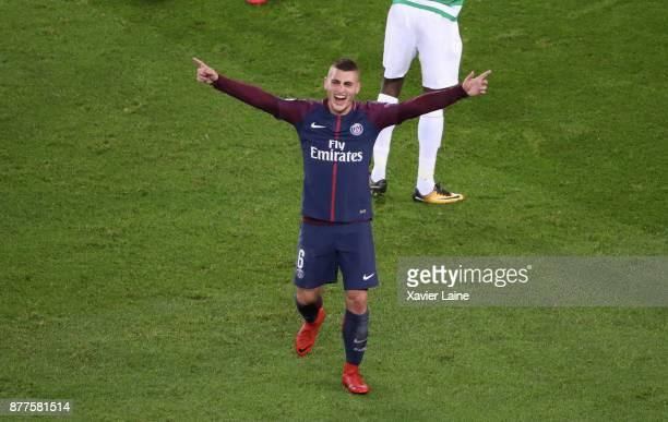 Marco Verratti of Paris SaintGermain celebrate his goal during the UEFA Champions League group B match between Paris SaintGermain and Celtic Glasgow...