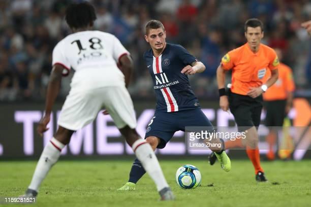 Marco Verratti of Paris SaintGermain competes the ball with Eduardo Camavinga of Stade Rennais FC during to the 2019 Trophee des Champions between...
