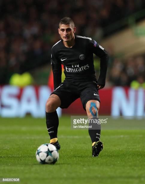 Marco Verratti of Paris SaintGermain controls the ball during the UEFA Champions League Group B match Between Celtic and Paris SaintGermain at Celtic...