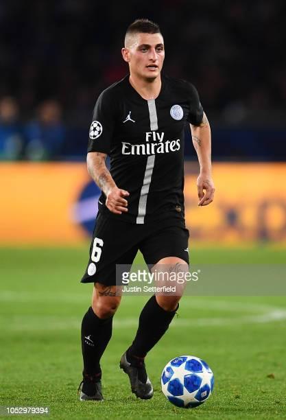 Marco Verratti of Paris SaintGermain during the Group C match of the UEFA Champions League between Paris SaintGermain and SSC Napoli at Parc des...